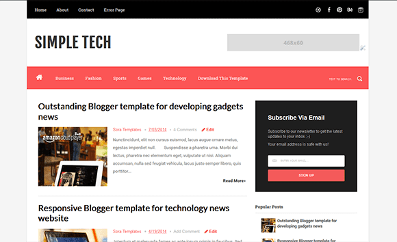Simple Tech Blogger Template | High Quality Free Blogger Templates