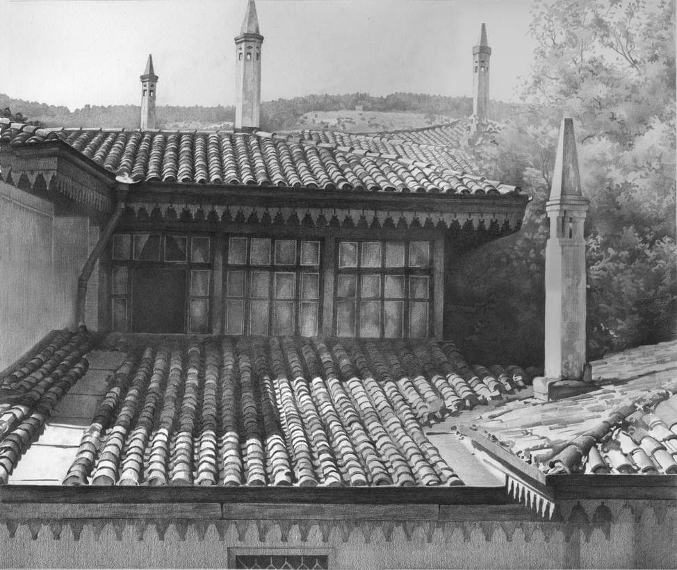 13-Roofs-Bachisarai-Denis-Chernov-Urban-Architecture-Pencil-Drawings-www-designstack-co