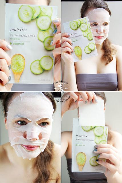 koreańska maseczka na bawełnianym płacie k-beauty sheet mask maseczka nawilżająca z ogórka