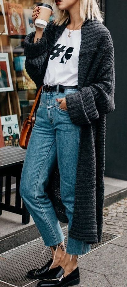 how to style a knit cardigan : t-shirt + bag + jeans + loafers