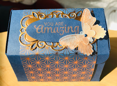 Stampin Up, Andrea Sargent, Art with Heart, blog hop, Detailed Bands, Butterfly Gala, DSP, 3D project