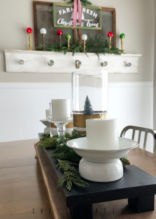 Vintage Christmas Decor Vignettes     see various ways to use vintage Christmas pieces in your home decor       dining room - table centerpiece