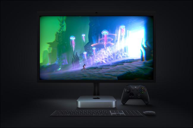 لعبة فيديو على جهاز Apple Mac mini مع M1.