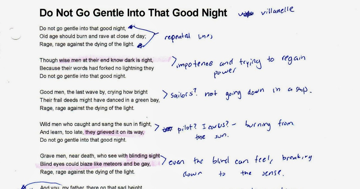 Poem Do Not Go Gentle Into That Good Night Poemdocor