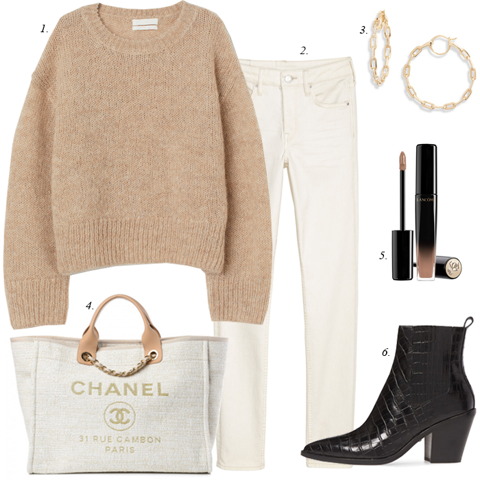 chanel tote, black boots, white jeans, tan sweater, fall outfit
