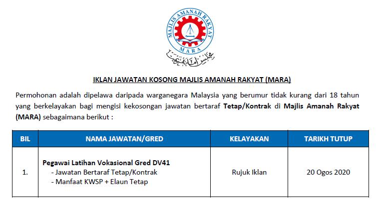 Permohonan Jawatan Kosong Di Majlis Amanah Rakyat Mara Pegawai Latihan Vokasional Gred Dv41