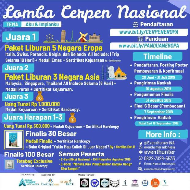 Lomba Cerpen Nasional Eropa 2019 di Event Hunter Indonesia