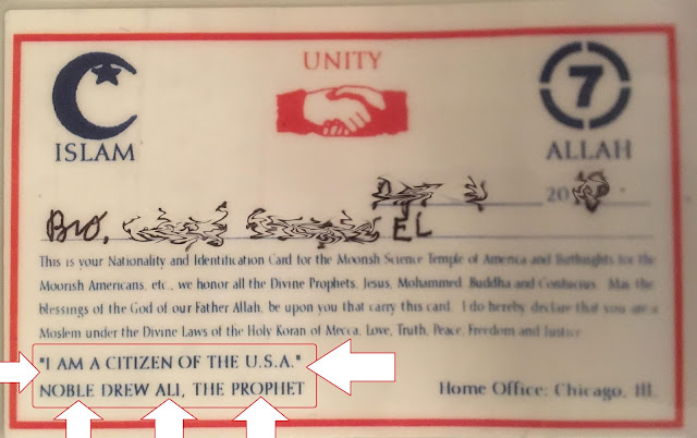 Moorish American nationality card which has phrase I am a citizen of the U.S.A. highlighted