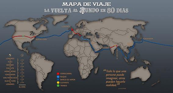 Mapa de la vuelta al mundo en 80 dias. Julio Verne