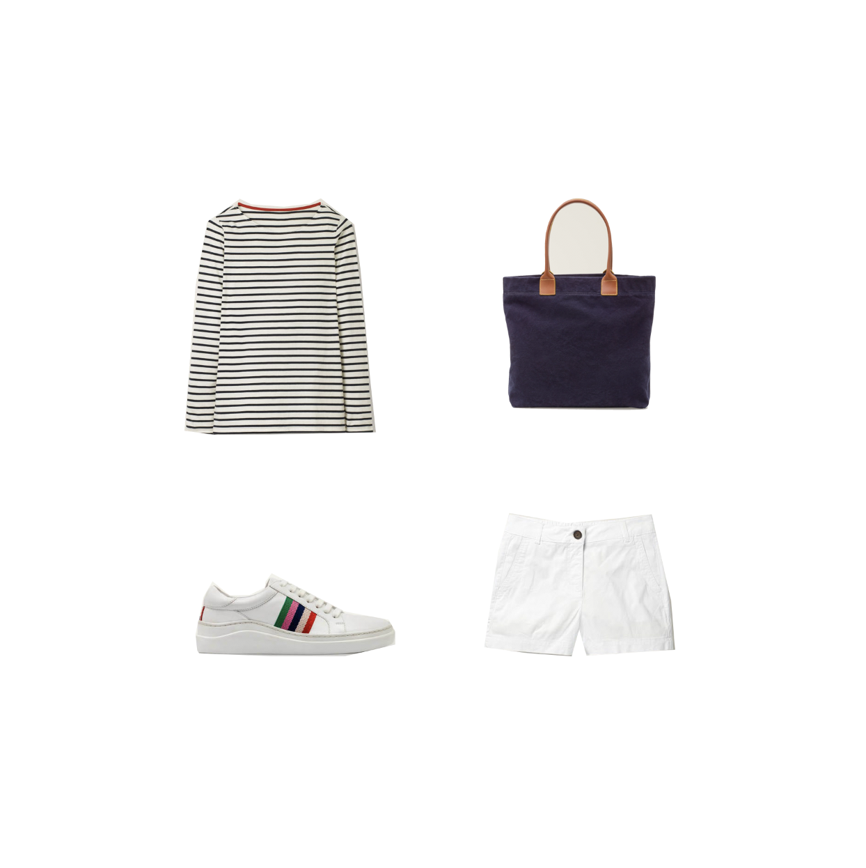 my midlife fashion, boden Holywell tote bag, boden stripe trainers, boden cotton shorts, boden long sleeve cotton breton top