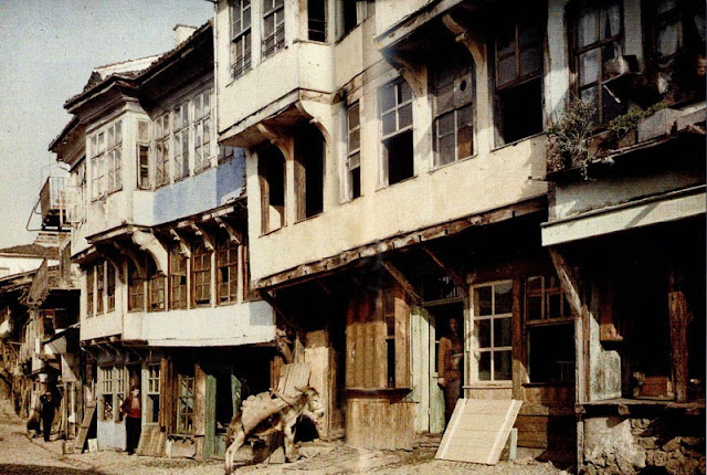The central street Samoilova in Ohrid, with houses of the late nineteenth century, Ohrid in 1913