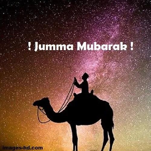 man on sitting on camel and offering dua as Jumma Mubarak DP