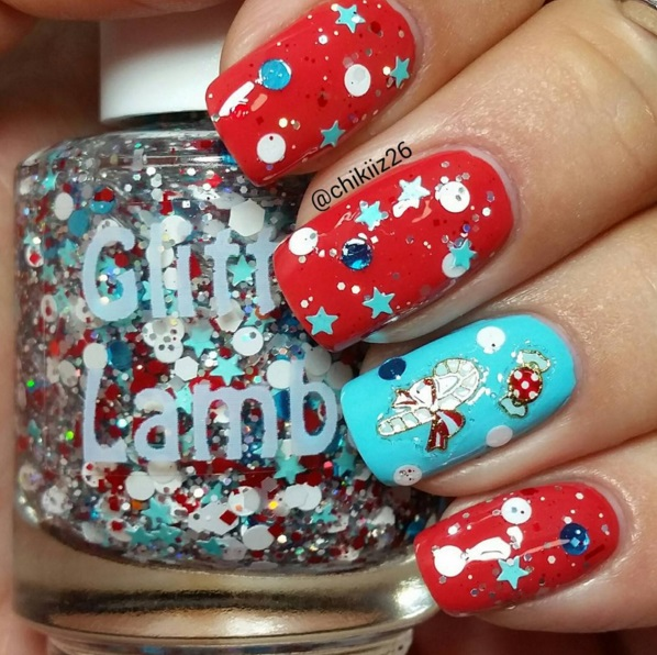 NEW- Peppermint Blizzard Glitter Nail Polish - Christmas Indie Cool Handmade Lacquer Swatch by @Chikiiz26