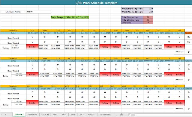 9/80 Work Schedule, 9/80 Work Schedule Template, what is a 9/80 work schedule