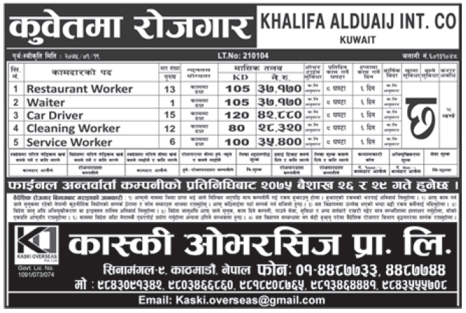 Jobs in Kuwait for Nepali, Salary Rs 42,880