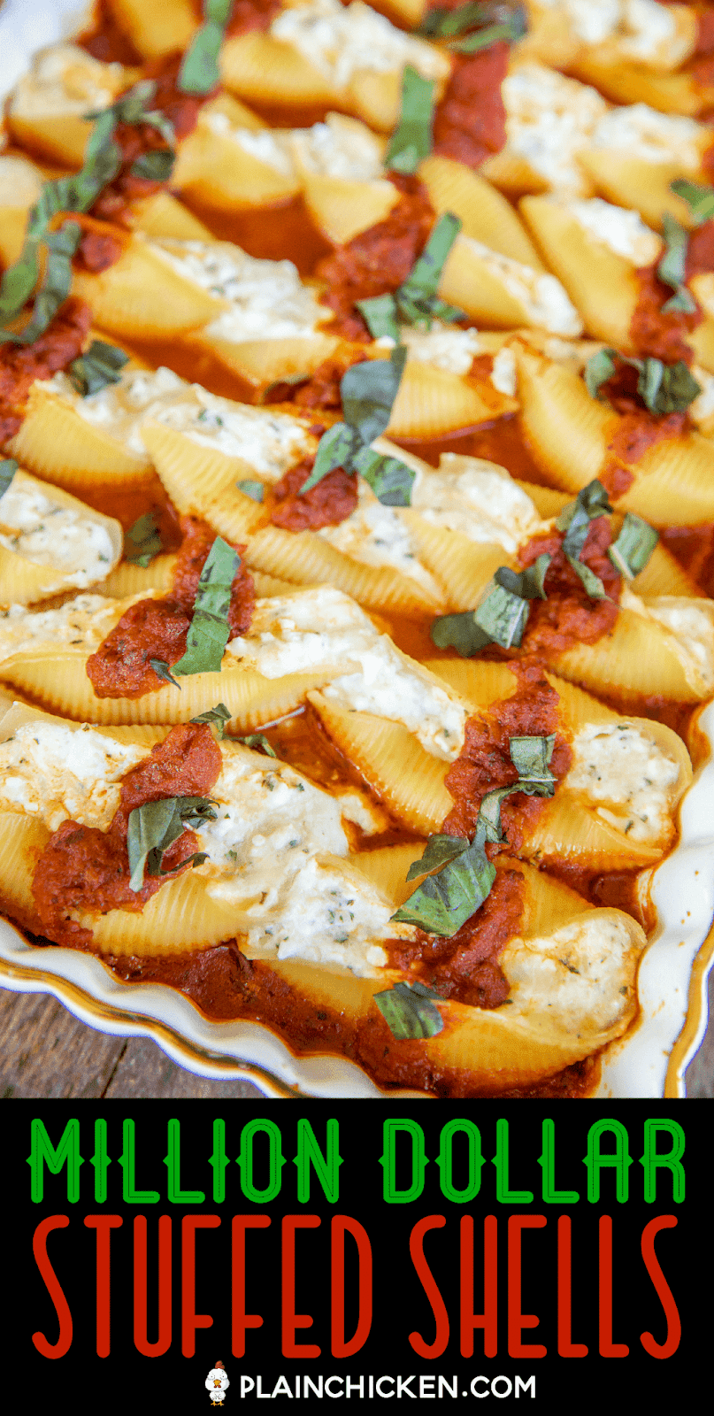 baked stuffed shells in a baking dish