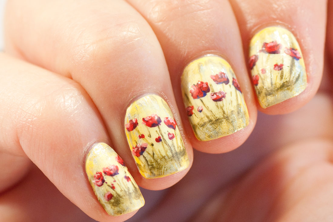 31 Day Challenge: Day 15, Delicate Print Poppy Nail Art
