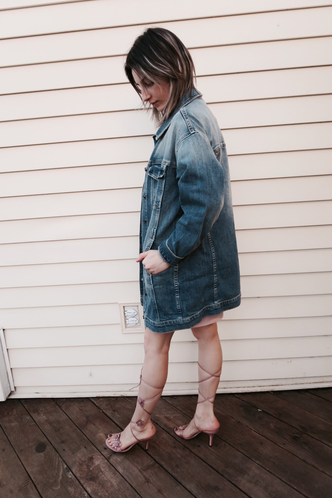 Mauve, Sweater Dress, Formal Wear, Denim Jacket, Sandal Heels