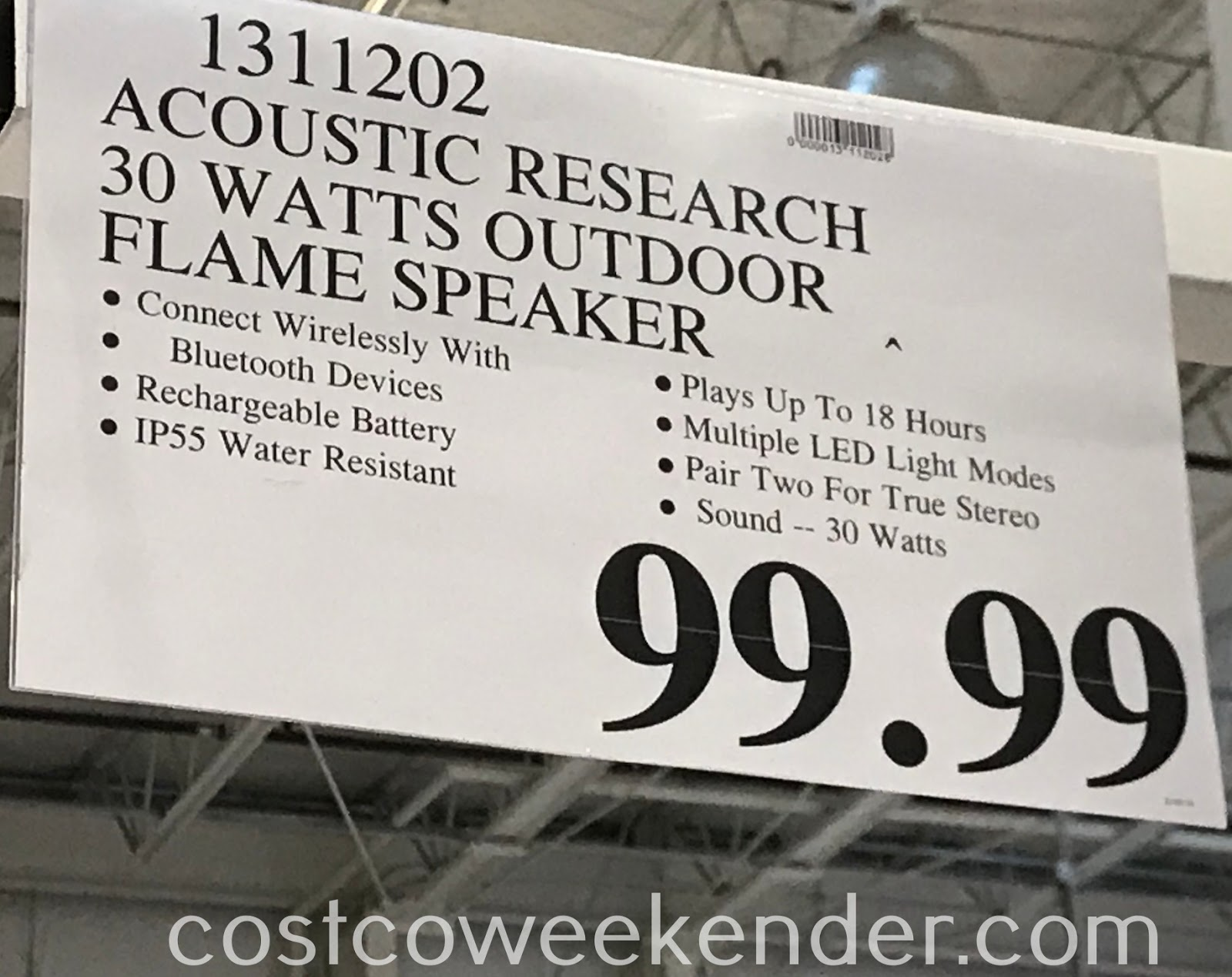 Deal for the Acoustic Research Portable Wireless Speaker with LED Flickering Flame Light at Costco