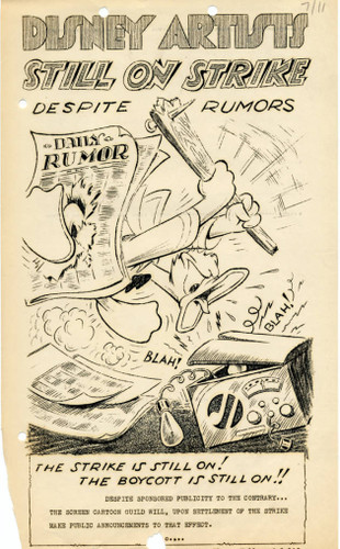 Flier from Disney animators strike, 11 July 1941 worldwartwo.filminspector.com