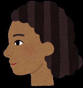 黒人女性の横顔のイラスト