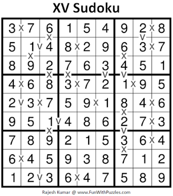 XV Sudoku (Fun With Sudoku #262) Puzzle Solution