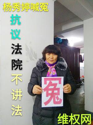 上海维权人士杨秀婷举牌喊冤抗议北京二中院不履行法定职责