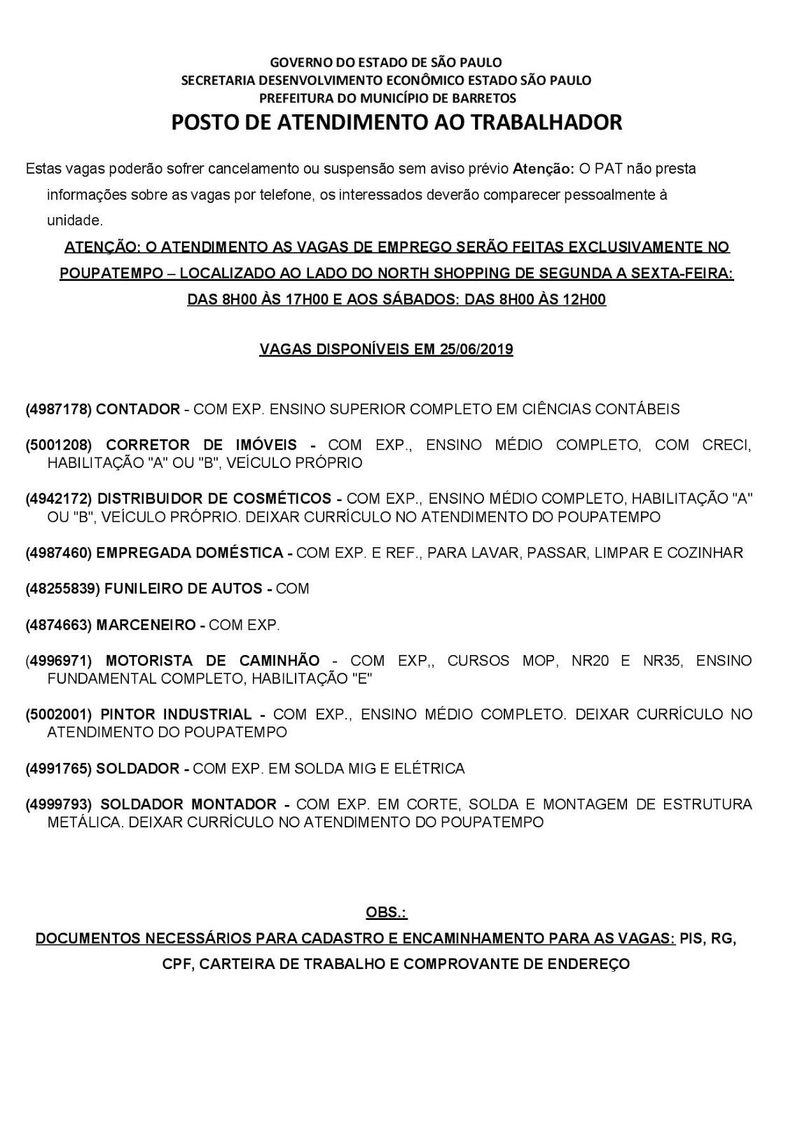 VAGAS DE EMPREGO DO PAT BARRETOS-SP PARA 25/06/2019 (TERÇA-FEIRA)