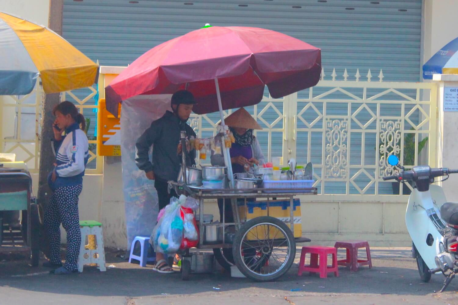 street food cart in ho chi minh city