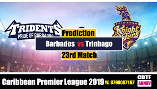 CPL 2019 Barbados vs Trinbago 23rd Match Prediction Today