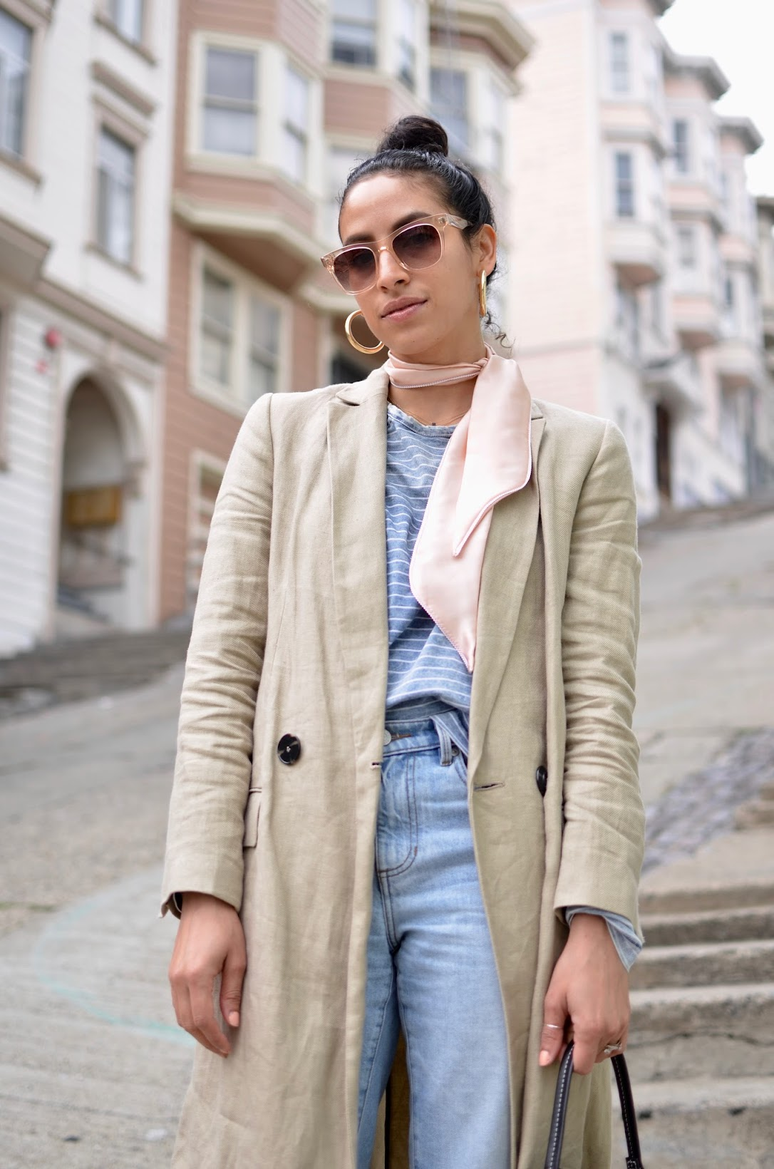linen longline blazer, denim blazer, round bag, vasic round bag, spring pastels, what to wear this spring, spring microtrends