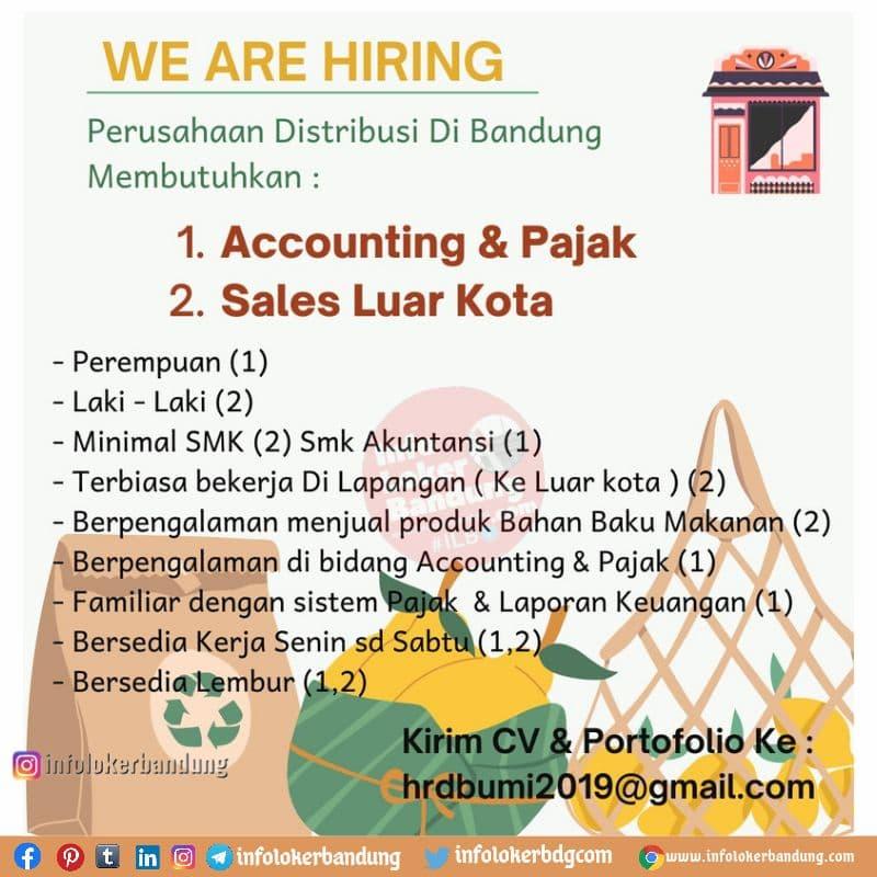 Lowongan Kerja Accounting & Pajak, Sales Luar Kota, Digital Marketing Perusahaan Distribusi Bandung Juli 2021