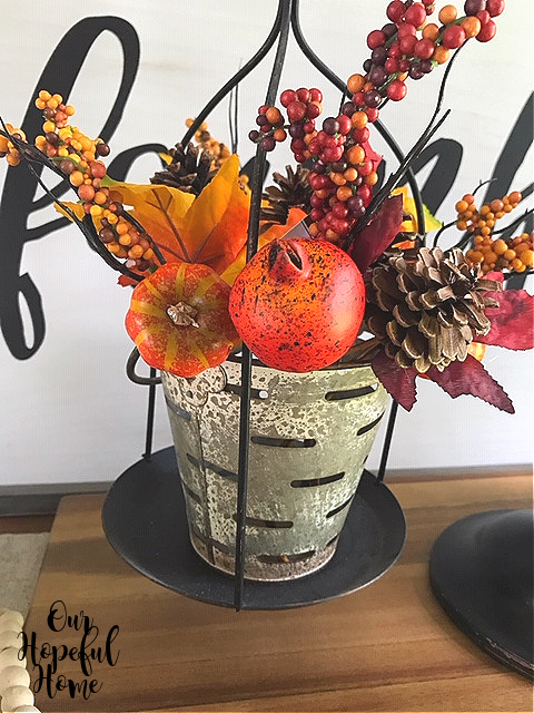 faux pomegranate pumpkin pine cone floral pick olive bucket farmhouse scale