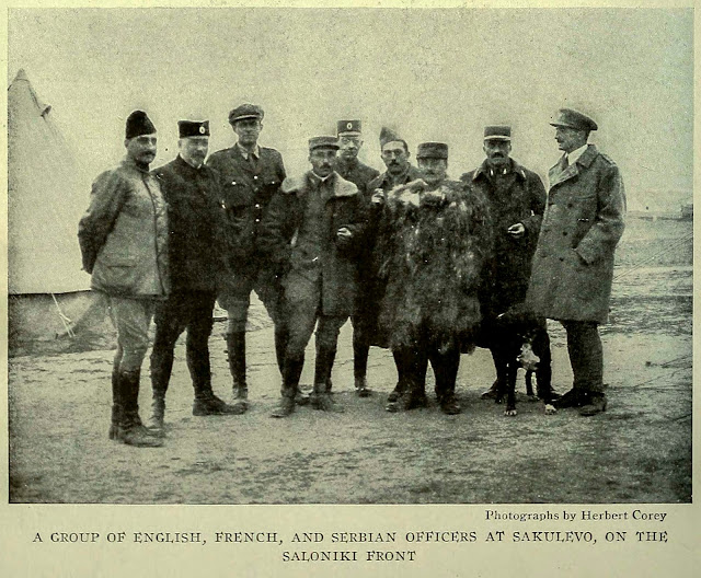 A GROUP OE ENGLISH, FRENCH, AND SERBIAN OEEICERS AT SAKULEVO, ON THE SALONIKI FRONT
