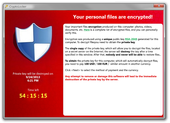 CryptoLocker Ransomware demands $300 or Two Bitcoins to decrypt your files