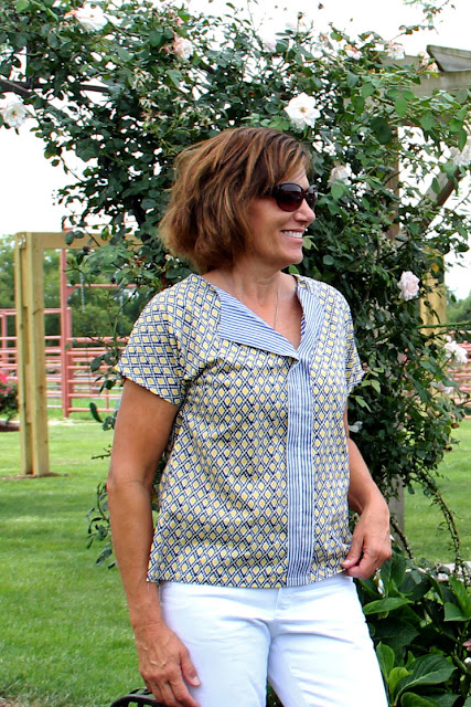 Liesel & Co Weekend Getaway Blouse sewn with two coordinating Mood Fabrics