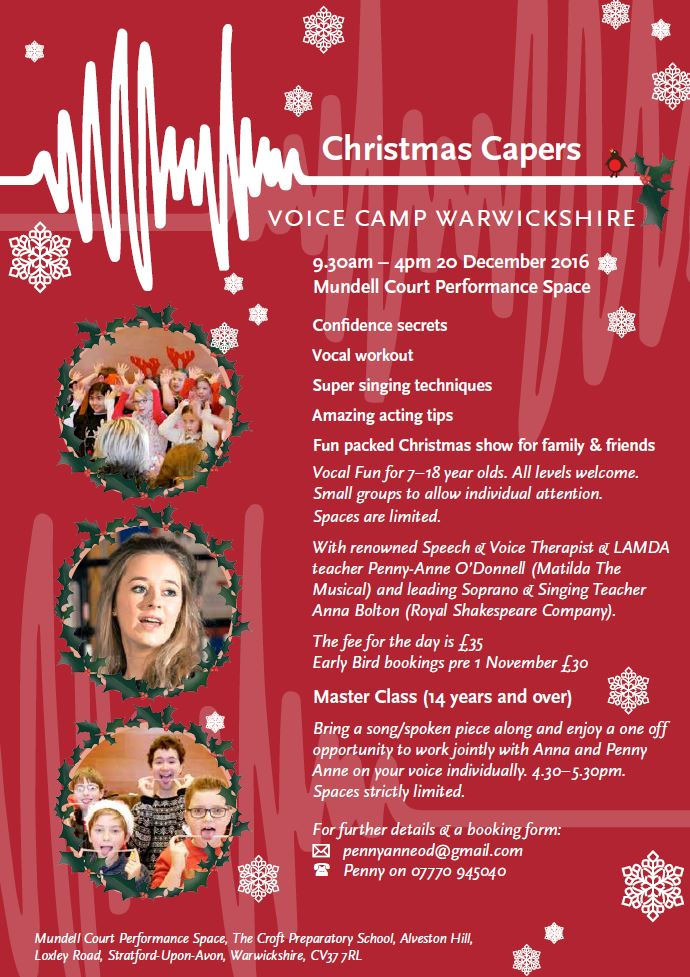 Christmas Capers Voice Camp Warwickshire