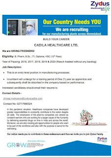 Zydus Cadila hiring freshers