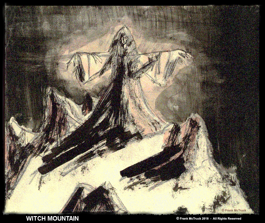 Frank McTruck ink and watercolor art 'Witch Mountain'