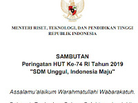Sambutan Resmi Menristekdikti dalam Upacara HUT RI ke-74 2019