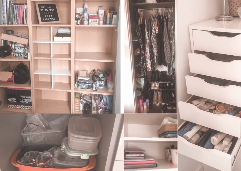 My progress so far including bare shelves and less clothes in a post about five areas to start decluttering for a more simple life