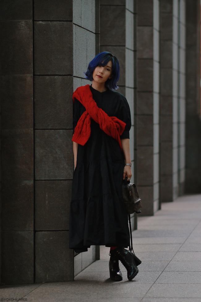 Japanese Fashion Blogger,MizuhoK,20191109OOTD, ZARA=black dress, GU=red knit sweater, H&M=laceup boots, BAG=LOUIS VUITTON