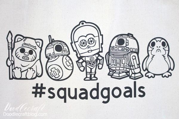 Make a cute Star Wars Squad Goals Cricut Iron-on Tote with a line up of adorable images, wicket the ewok, BB8, C3PO, R2D2 and a darling Porg.