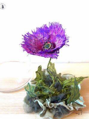 Think Knot pavot fleur brodée piqué libre