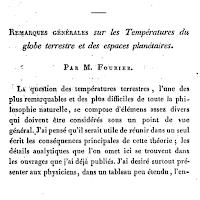 Découverte de l'effet de serre par Fourier - Remarques générales sur les températures du globe terrestre et des espaces planétaires