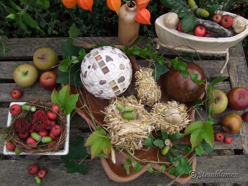 Herbstdeko mit Zieräpfeln
