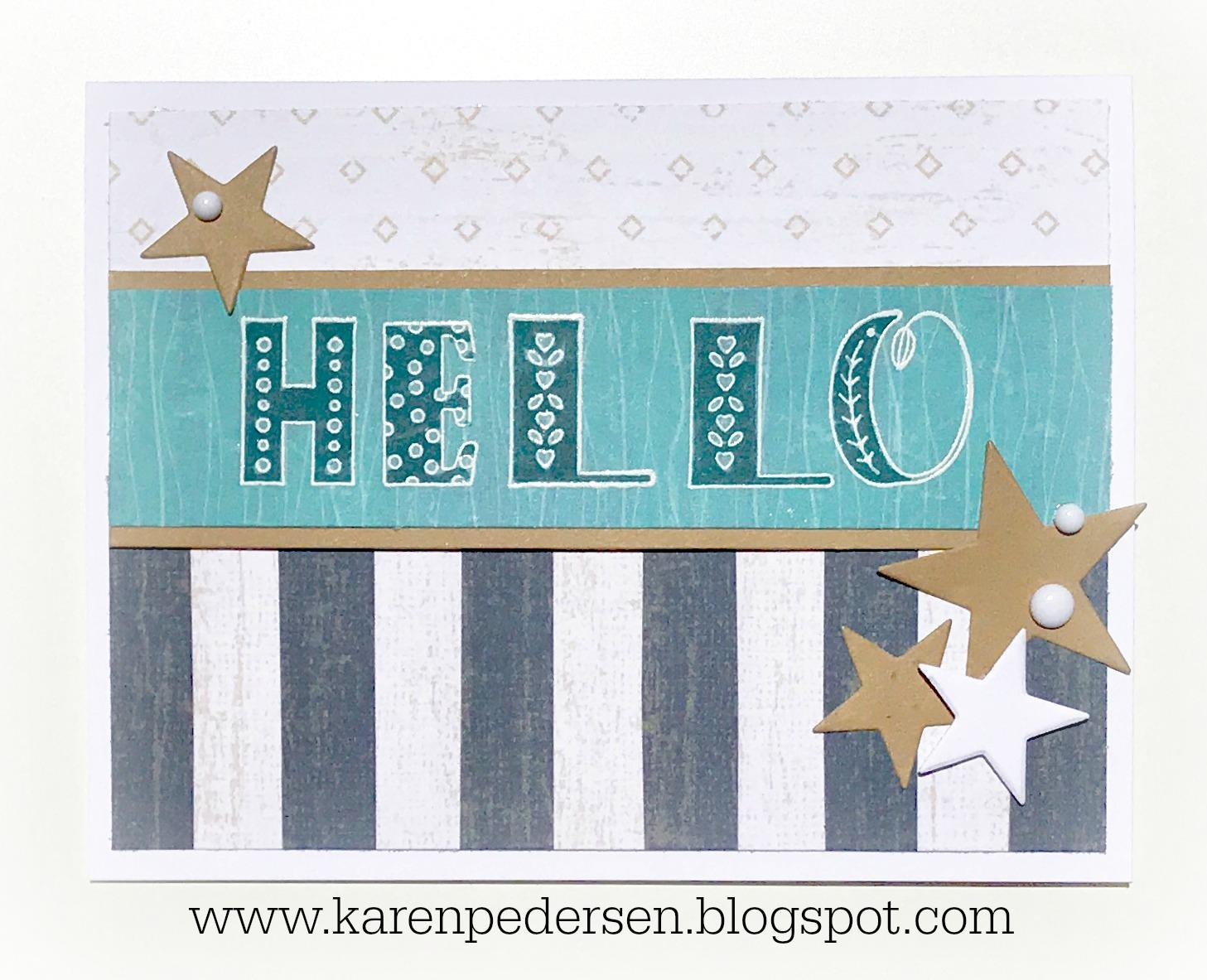 Karen Pedersen: Hello Card and FREE Stamp Sets