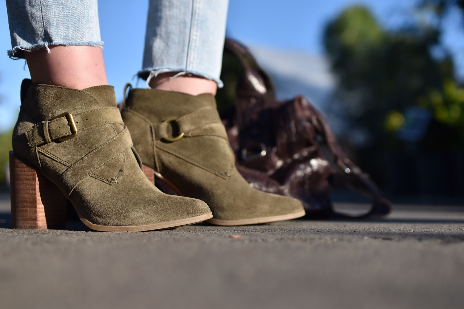 Monika Faulkner outfit inspiration - Nine West olive suede booties