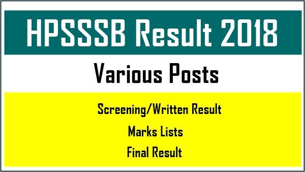 HPSSSB Result 2018
