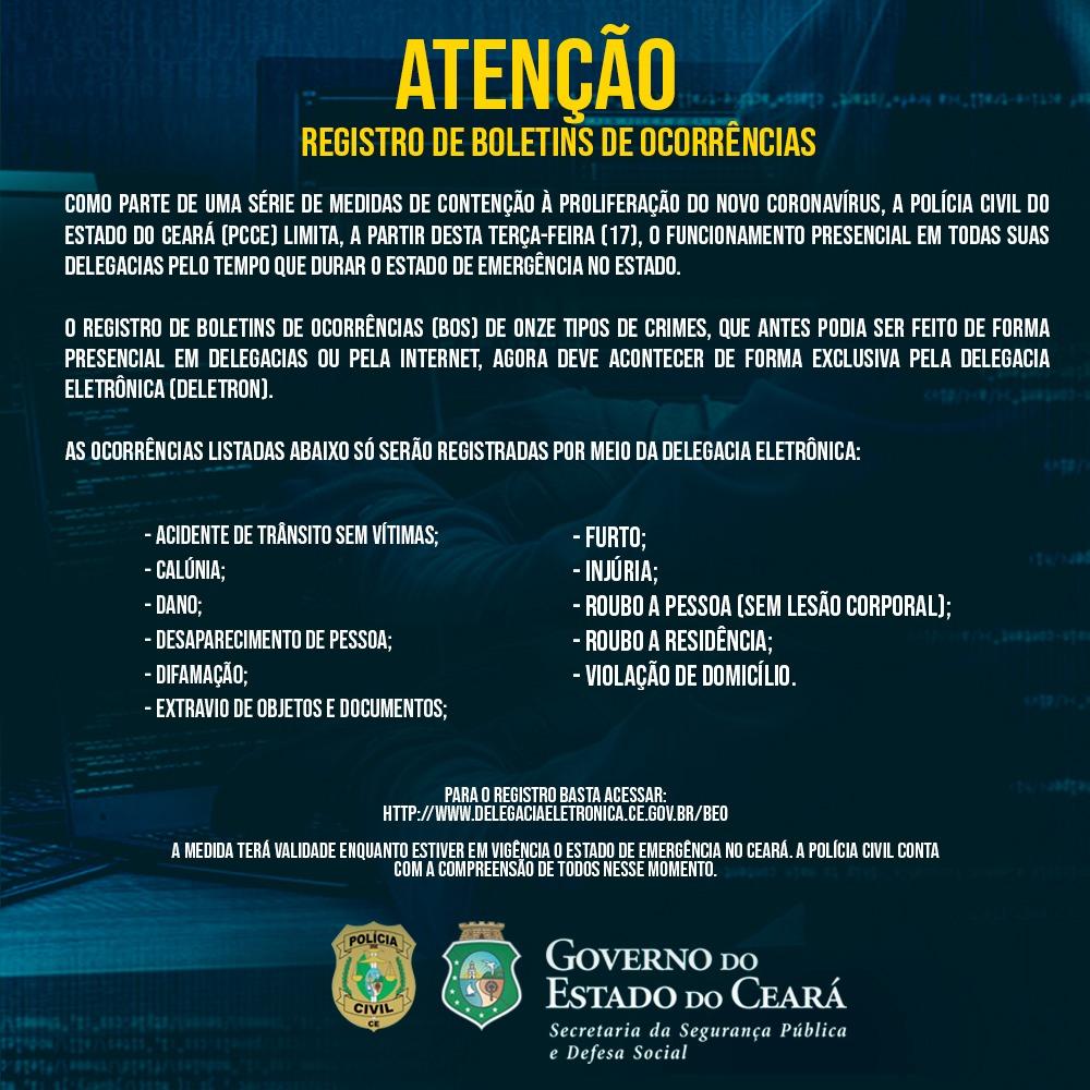 Resultado de imagem para Atendimento em delegacias de Polícia Civil é modificado diante da emergência em saúde no Ceará